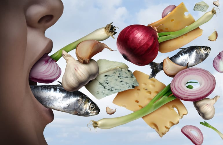 Bad Breath can be cause by the food you eat